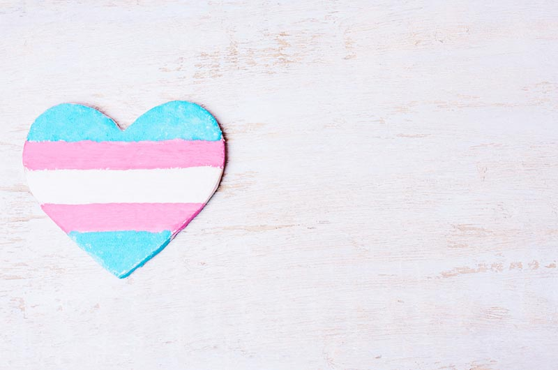 Heart painted with the transgender flag colors (pink, blue and white).
