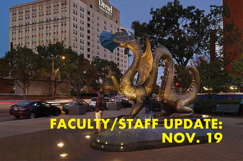 Dragon statue and the text faculty staff update Nov. 19