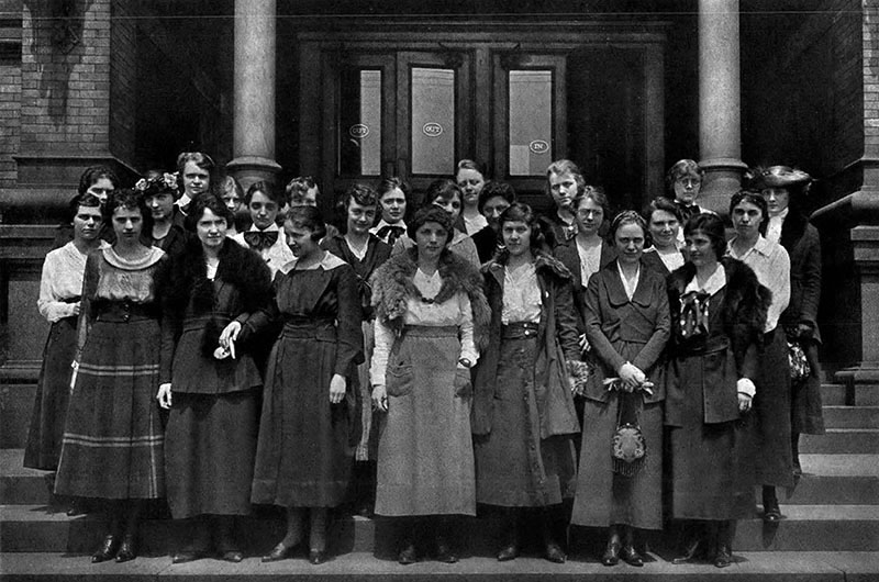 The Drexel Institute of Art, Science and Industry's Domestic Science Class of 1919, as seen in the 1919 Lexerd Yearbook. Photo courtesy Drexel University Archives.