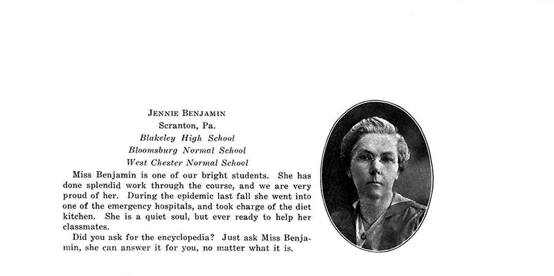 The yearbook entry for the 1919 graduate Jennie Benjamin as it appeared in the 1919 yearbook. Photo courtesy of the Drexel University Archives.
