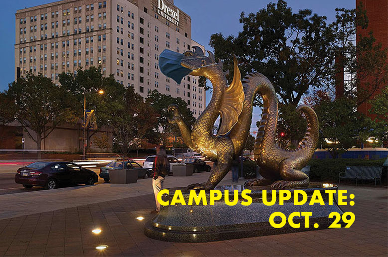 Dragon statue with text campus update Oct. 29