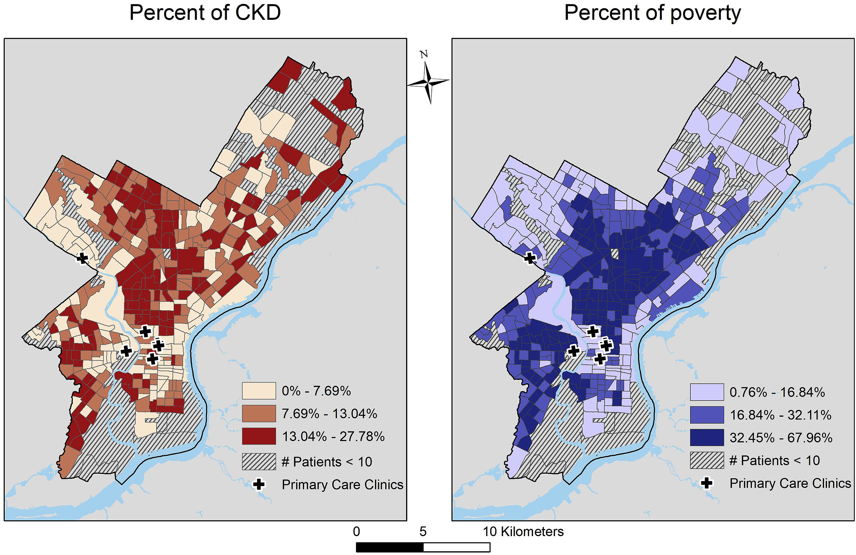Chronic Kidney Disease by neighborhood in Philadelphia