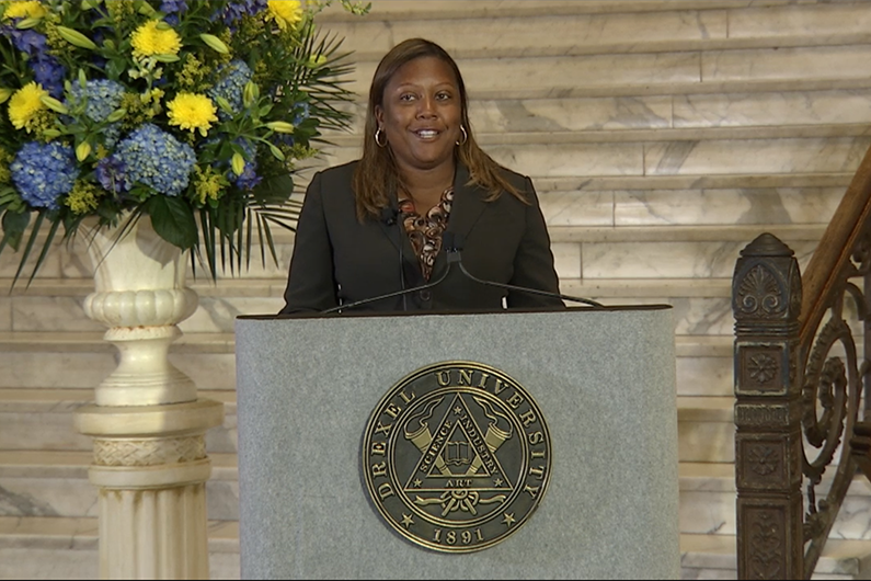 Vice President and Chief Diversity Officer Kim Gholston spoke at Drexel's 2020 Convocation and provided updates about the Anti-Racism Task Force.