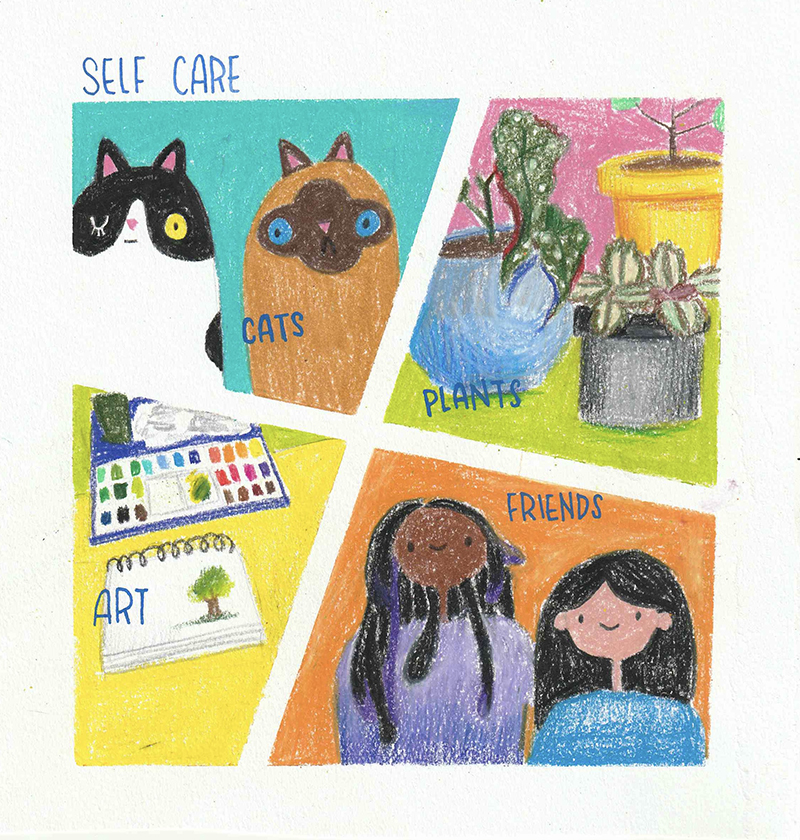 A comic about self-care created by Hanna Lee, an Art Therapy and Counseling master's student in the College of Nursing and Health Professions.