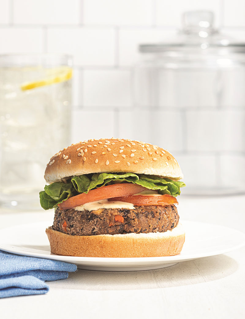 "A black bean burger, one of the many recipe offerings from ""The Anti-Inflammatory Family Cookbook."" Photographs by Harper Point Photography."