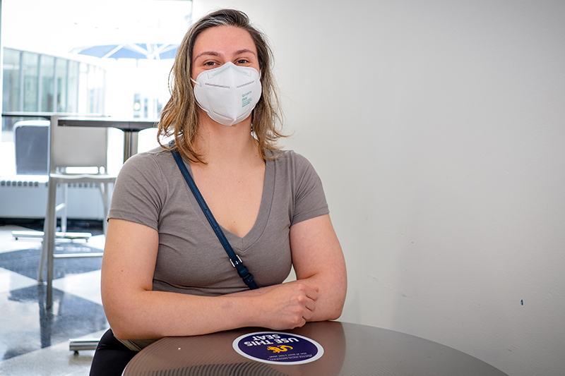 Brandy Hoffman, academic advisor for the College of Computing & Informatics, received the first dose of the Pfizer vaccine on April 19 at Drexel University.
