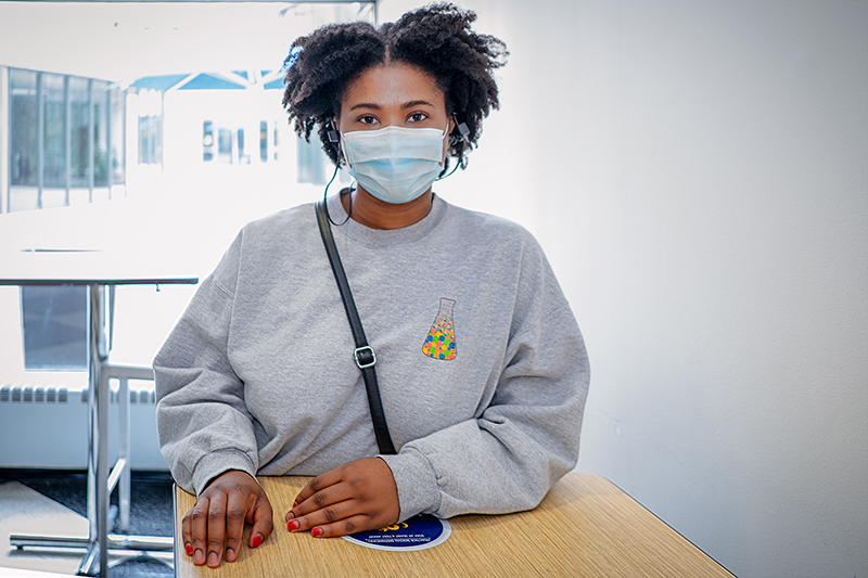 Daniella Ibiam, interdisciplinary health sciences master's student, received the first dose of the Pfizer vaccine on April 19 at Drexel University.