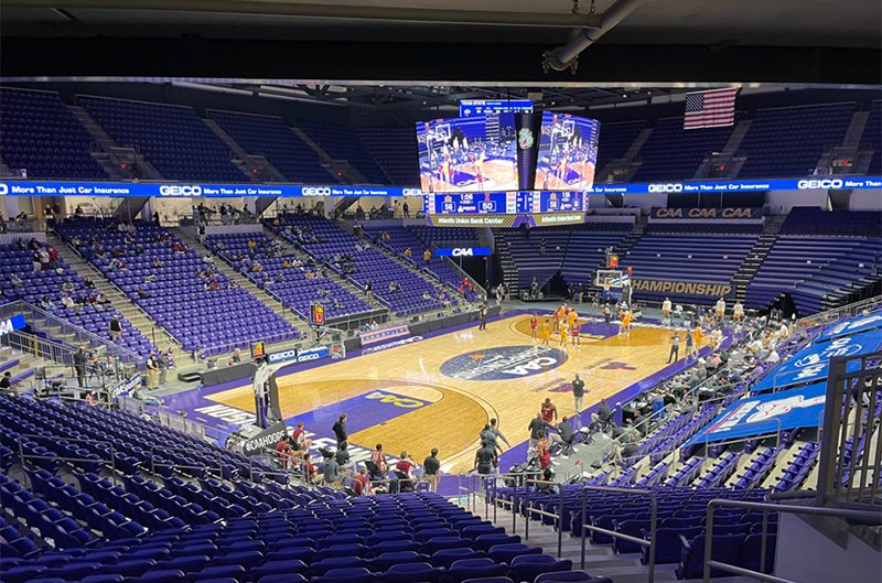 The new 8,500-seat Atlantic Union Bank Center on the campus of JMU, site of the men's CAA Basketball Championships.