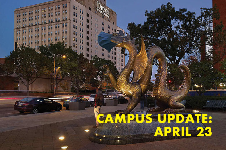 Dragon statue masked with the words campus update April 23