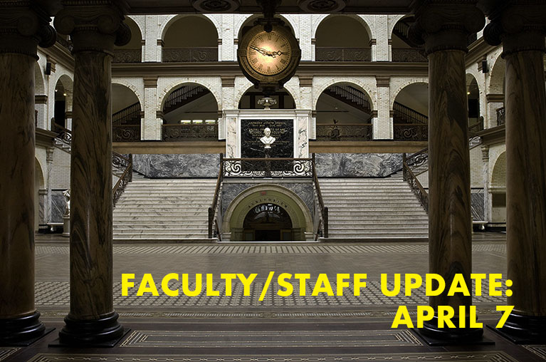 interior of Main Building facing steps with test faculty/staff update April 7