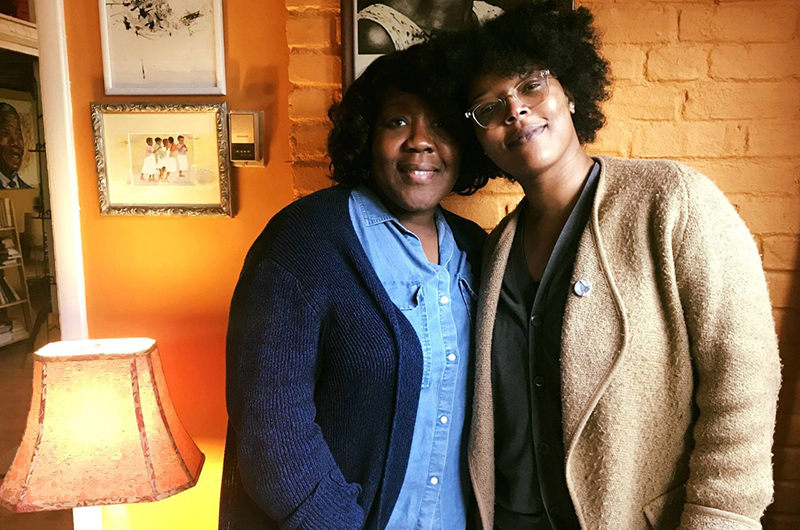"Trapeta Mayson (left) and Yolanda Wisher, adjunct instructors in the Department of English and Philosophy in the College of Arts and Sciences at Drexel University, are teaching ""Black Women Writing: Short Stories (CW T680)"" to graduate students."