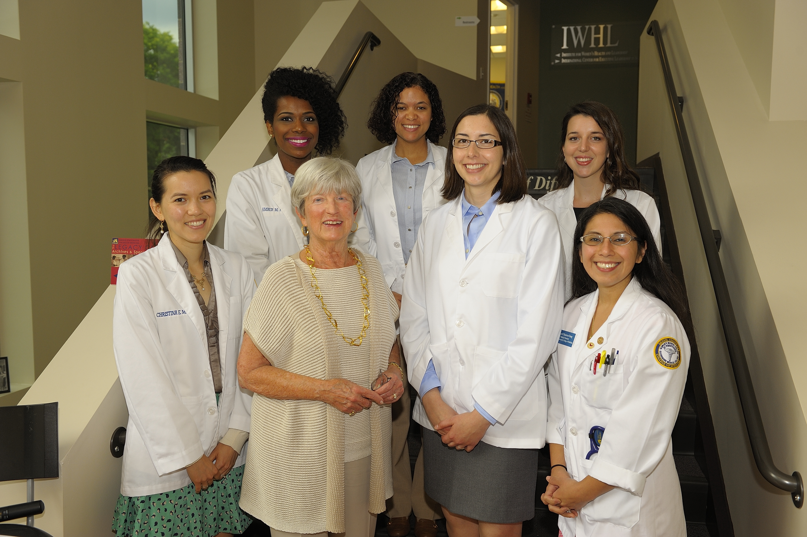 Director of the Institute for Women's Health and Leadership® Lynn Yeakel with Previous Woman One Scholars
