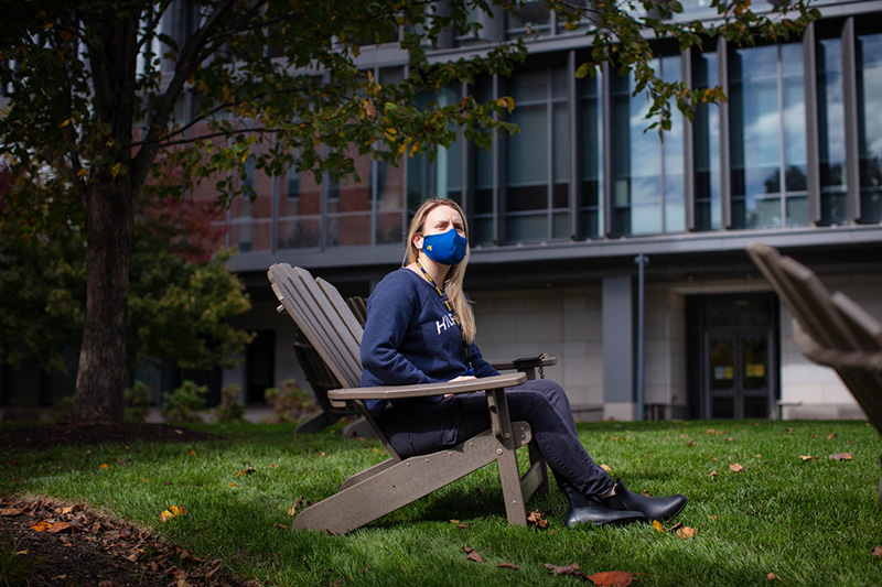 A Drexel student poses on campus during the fall 2020 term. For winter term, more than 1,000 undergraduate students will move on campus starting Jan. 16, though the COVID-19 pandemic continues to augment this college rite of passage and necessitate virtual programming.