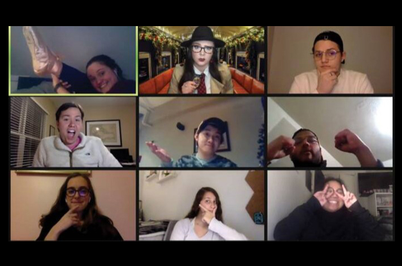 A screenshot from a Campus Activities Board (CAB) virtual team building event featuring Maxey, Nash and other members of the organization's executive board.