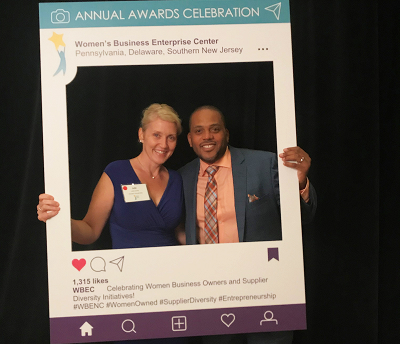 Associate Vice President of Accounts Payable & Procurement Julie Jones and Director of Supplier Inclusion Allen Riddick at the 2018 Women's Business Enterprise Center (WBEC) Annual Awards Celebration, where Riddick (right) received the Shining Star award for his support of and commitment to supplier development initiatives. Photo courtesy Julie Jones (left).