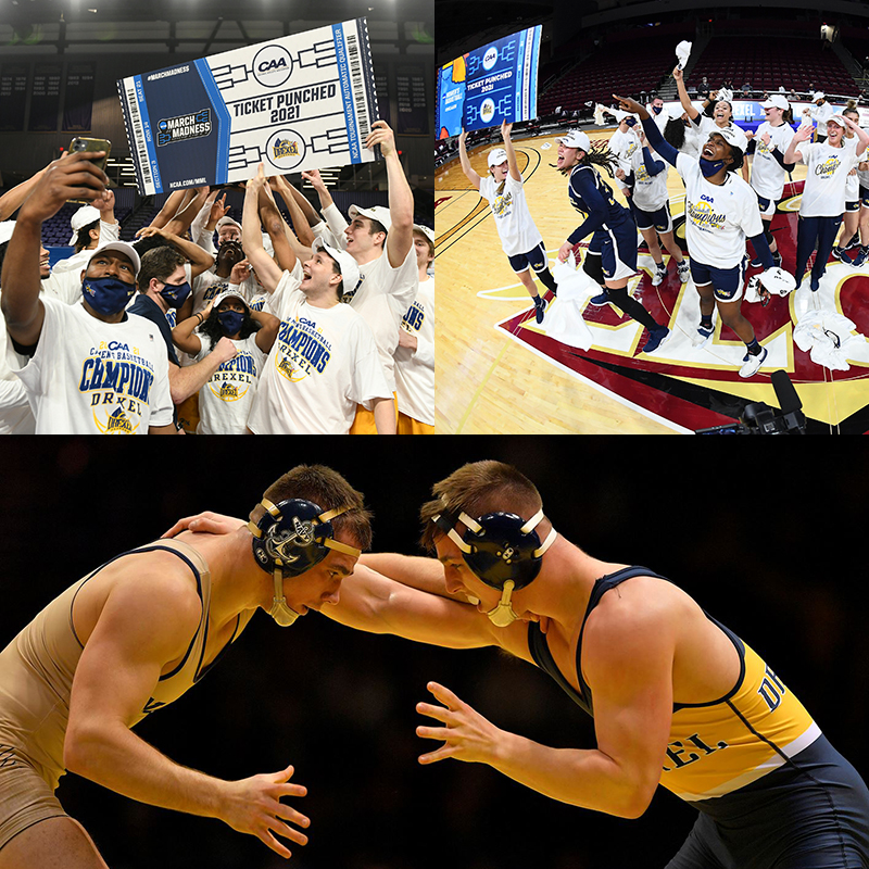 Drexel basketball and wrestling student athletes, coaches and staff recount the 2020–2021 season's differences, delays, setbacks and triumphs.