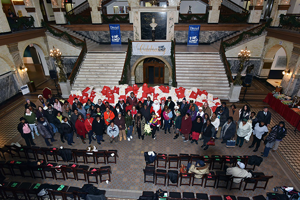 group shot at toy drive 2016 drexel main building