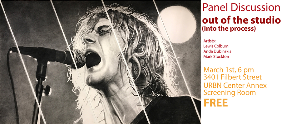 A detailed drawing of Kurt Cobain screaming into a microphone.