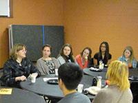 WiPS members and Drexel physics faculty and graduate students join Dr. Meg Urry for a special breakfast.