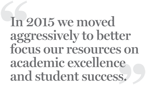 In 2015 we moved aggressively to better focus our resources on academic excellence and student success