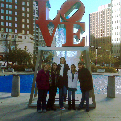 Students in front of LOVE sculpture