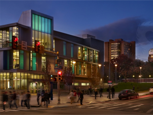 Night view of Drexel building