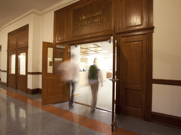Students entering Admissions Office