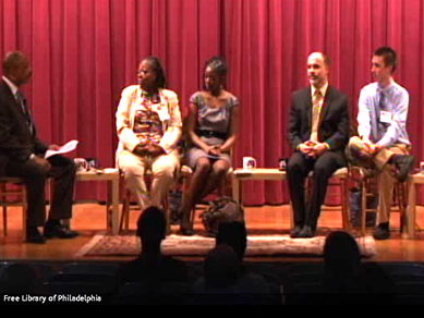 panel discussion at The Free Library