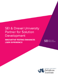 Front Cover of SEI Drexel Case Study with Pink and Purple geometric design