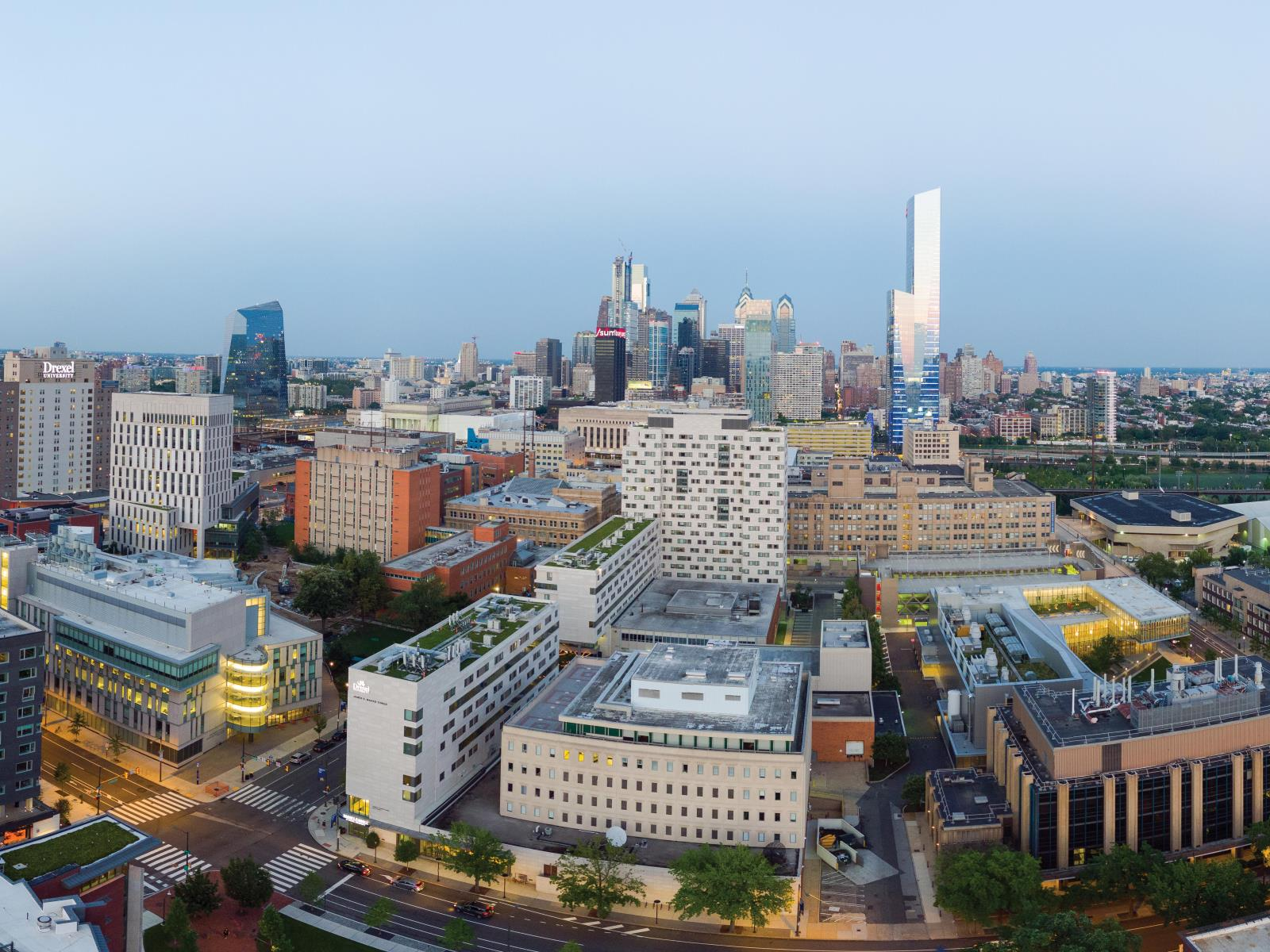 Drone aerial view of Philadelphia skyline