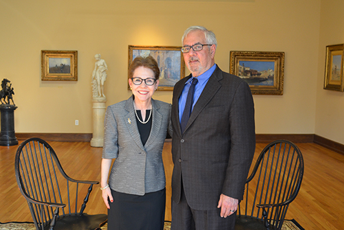 Dean Paula Cohen and Congressman Barney Frank in the AJ Drexel Picture Gallery