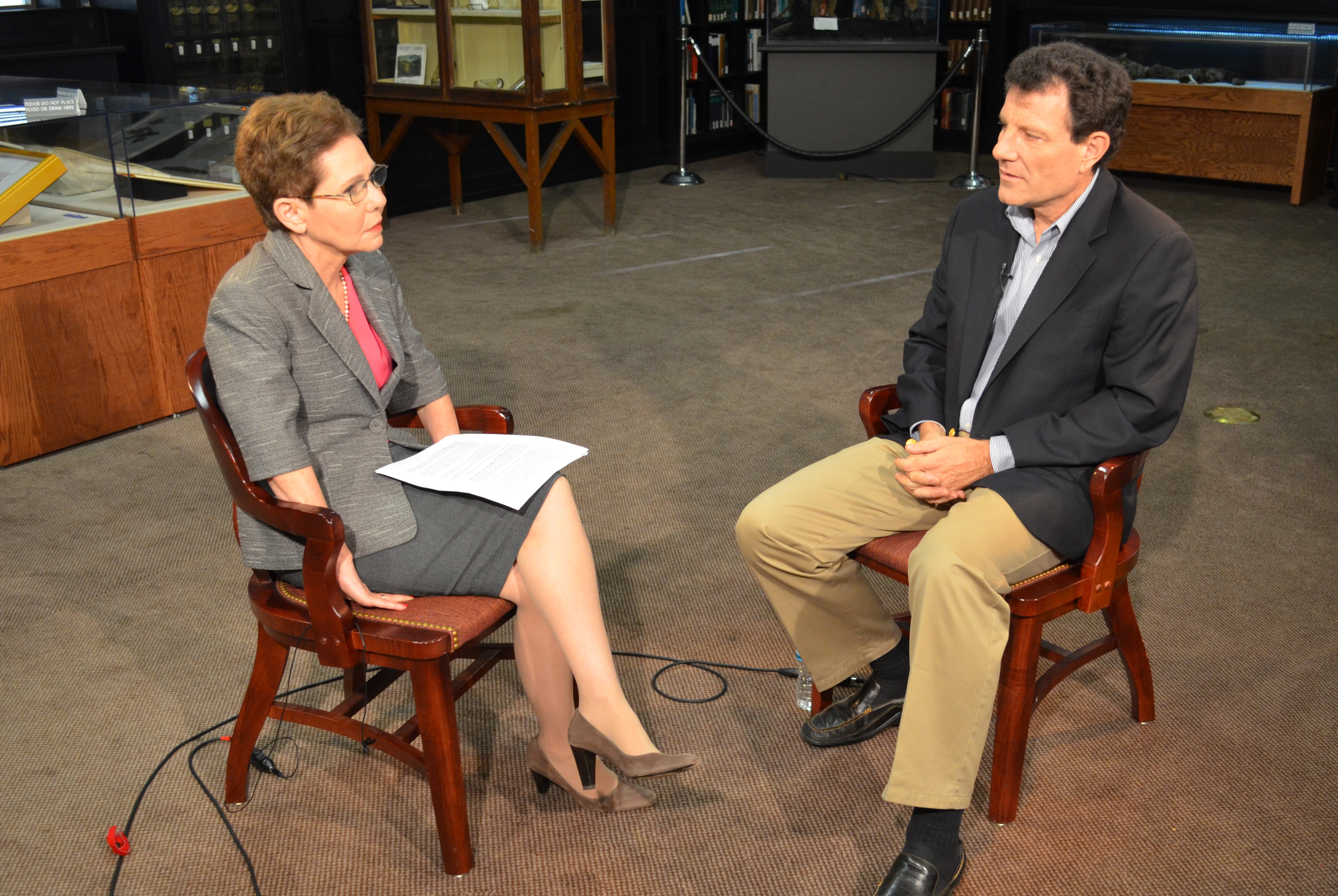 Dean Paula Cohen speaking with Nicholas Kristof at the National Constitution Center.
