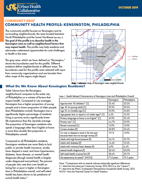 Front page cover of the Kensington profile brief