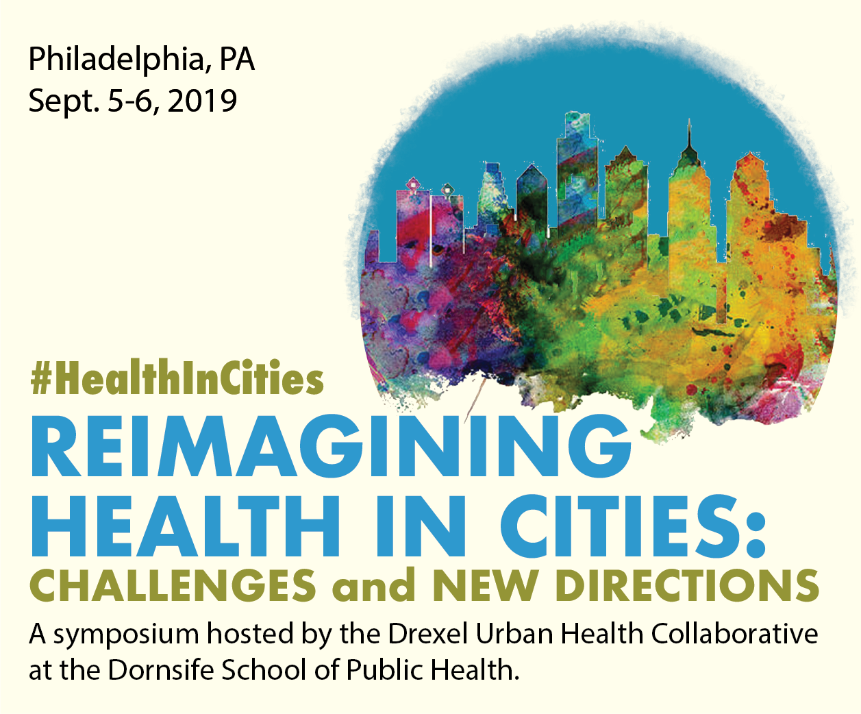 "Condensed flyer that contains title, ""Reimagining Health in Cities. Challenges and New Directions"""