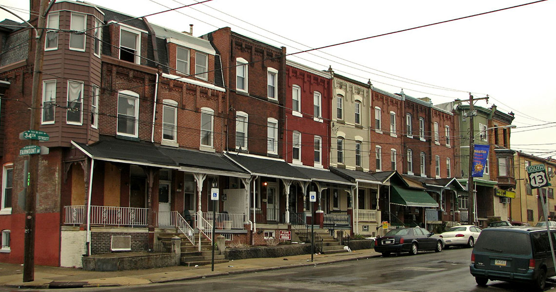 Rowhouses in Mantua neighborhood Philadelphia