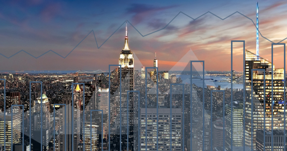 Photo of New York City at night with graphs overlaid