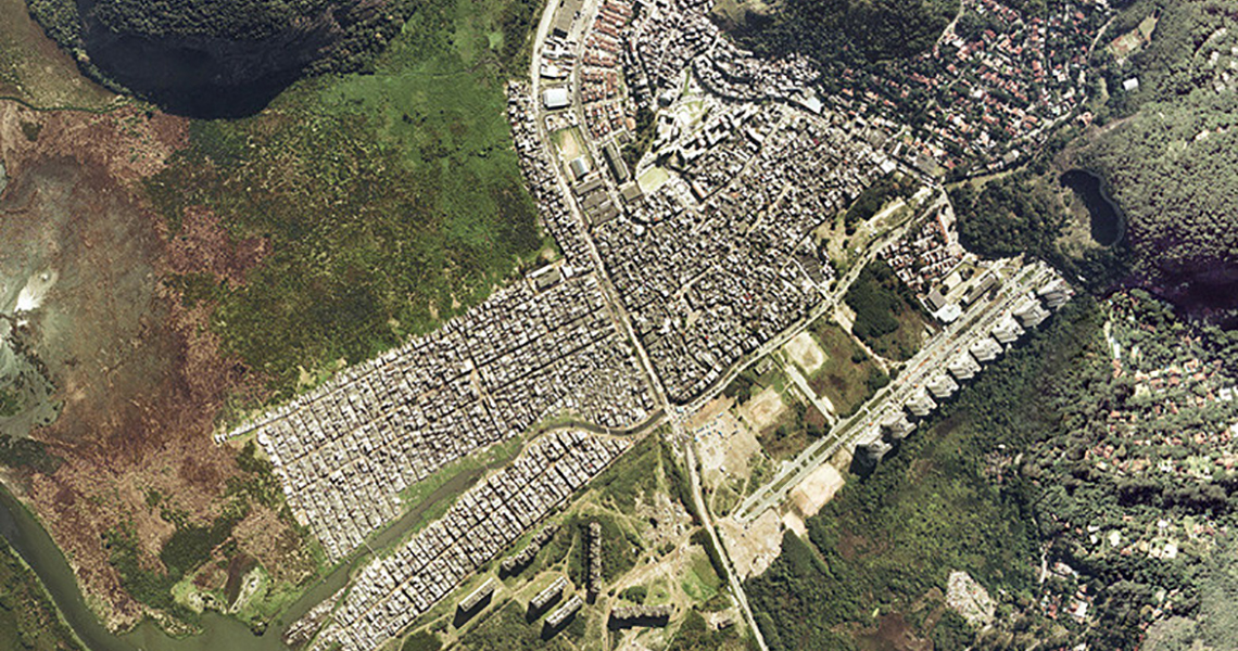 Aerial photo of Rio das Pedras community in Brazil