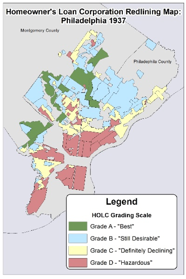 HOLC Redlining Map of Philadelphia