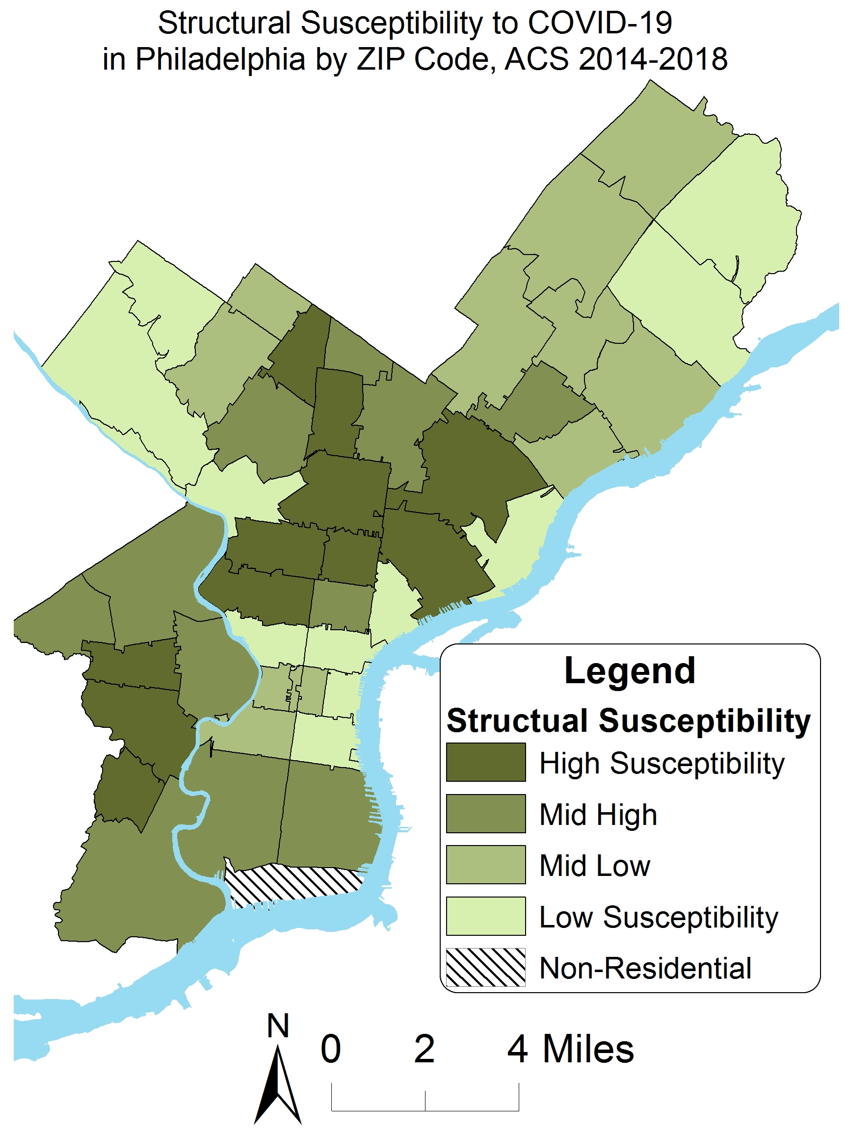 Structural susceptibility to COVID19 in Philadelphia by zip code, ACS 2014-2018