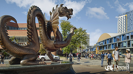 The Drexel dragon statue facing the Athletic Center.