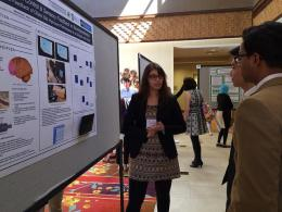 Mashaal Syed (Biomed. Engr., '15) presents her research on neuroprosthetics at the Colonial Academic Alliance Undergraduate Research Conference. Mashaal has worked with her faculty mentor, Dr. Patricia Shewokis, for the past three years and plans to pursue a joint MD/PhD upon her graduation.