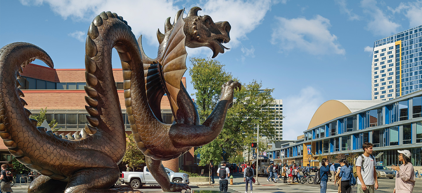 The Mario the Dragon statue.