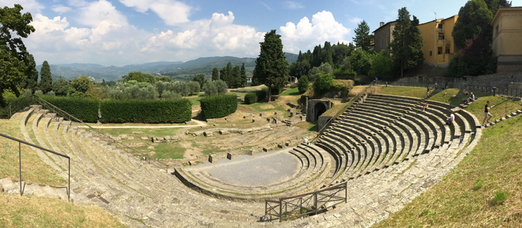 Study Abroad Florence - Students Sketching in Roman Amphitheater - Fiesole
