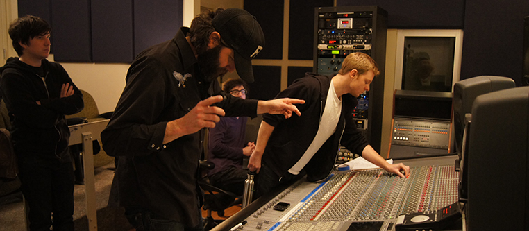 Music Industry Band in Studio with Students