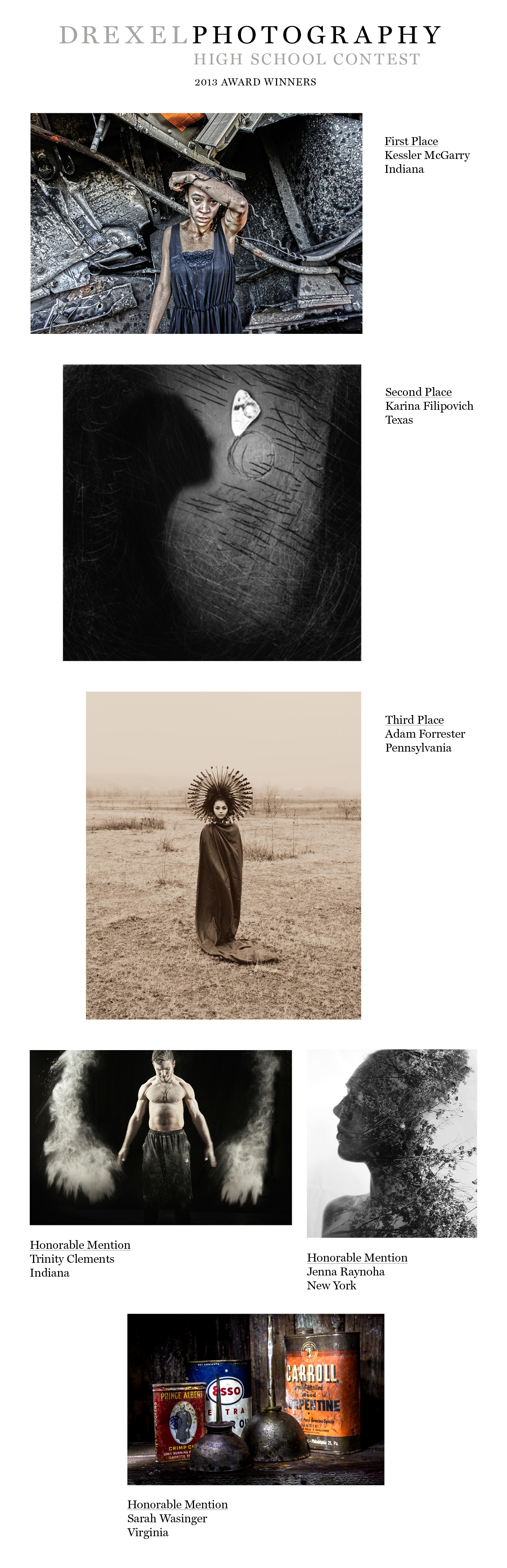 Drexel Photography High School Contest 2013 Award Winners