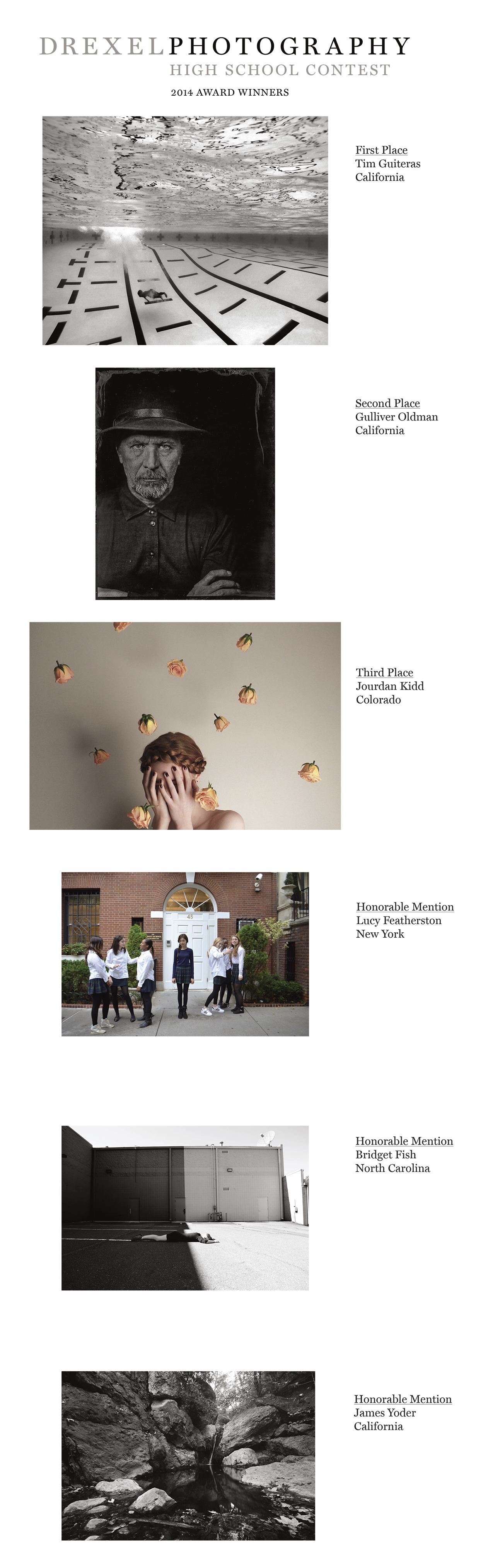 Drexel Photography High Scool Contest 2014 Award Winners