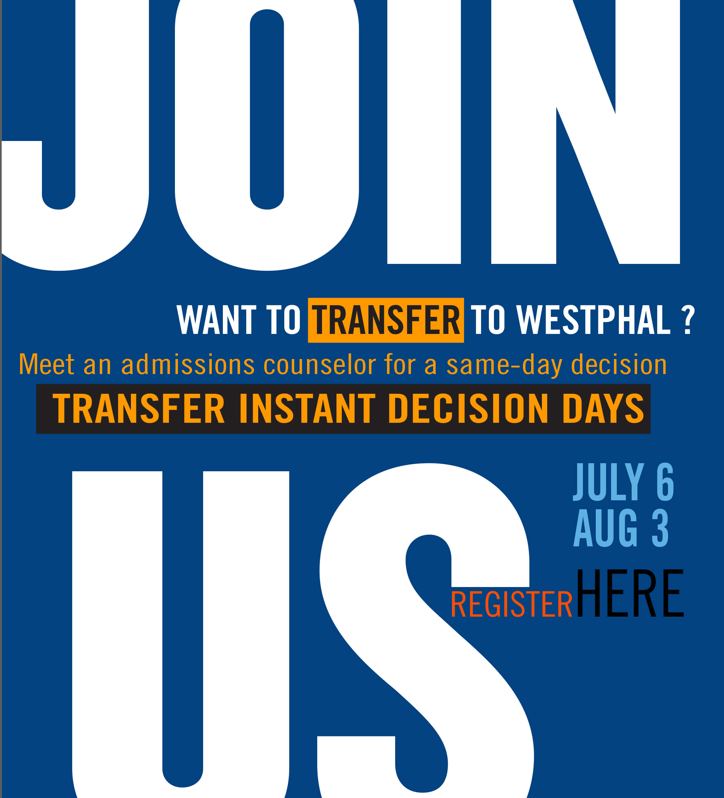 Contact us to transfer to Westphal College