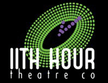 11th Hour Theater company lime green, black and purple logo