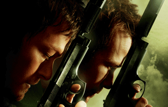 Two men holding the backs of their guns to their forheads poster for Boondocks Saints II