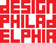 Red and white square DesignPhiladelphia logo